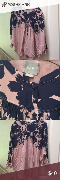 Anthropologie blouse. Size Small. Pink and navy 3/4 Sleaved. Anthroplogie size Small. Blouse. Flowy. Pink and navy blue. Great condition. Anthropologie Tops Blouses