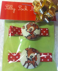 Sweet Baby Fawns 2 Red Polkadot Hairclips by Sillysockmonkeys, $5.00