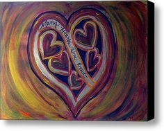 Many Hearts One Beat - Yellow Stretched Canvas Print / Canvas Art By Kathryn Bonner - My daughter adopted her son, they have an open adoption. There are 3 in this collection.These are the paintings my daughter asked me to paint as a gift to her adopted son's birth-mother & birth-grandmother. I had to paint one for my daughter. This can be used for adoptions, all families actually, blended families, for a large group with a powerful mission, for multiple births...