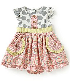 Rare Editions Baby Girls 1224 Months Dotted and Floral BowBack ALine Dress #Dillards