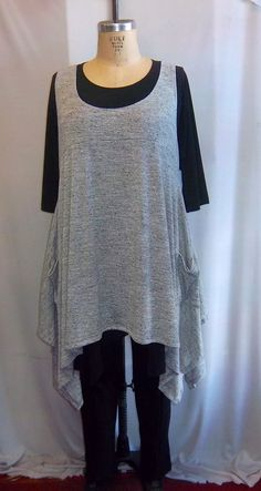 30fa5bd5239 Coco and Juan Plus Size Top Lagenlook Layering Tunic Top Gray and White  Space Dyed Sweater Knit Size 1 Fits 1X