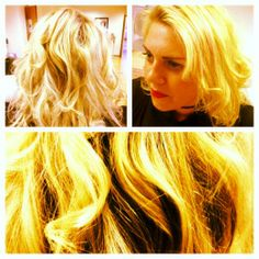 #LooseBlondeCurls My first go at blowdrying hair and creating curls with #straighteners