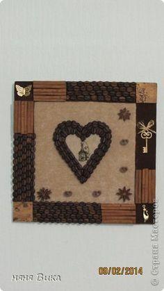Картина панно рисунок Валентинов день Ассамбляж Кофейные сердца 2 Кофе фото 1