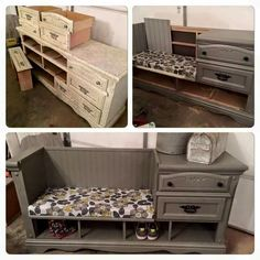 Turn an Old Dresser into a Mudroom Bench.these are the BEST DIY Upcycled & Repurposed Ideas! Over 20 of the BEST Upcycled Furniture Ideas - ways to turn Trash into Treasure! These ideas are a great way to repurpose old furniture & very easy to make! Refurbished Furniture, Repurposed Furniture, Furniture Makeover, Painted Furniture, Furniture Ideas, Dresser Repurposed, Dresser Makeovers, Furniture Storage, Dresser Ideas