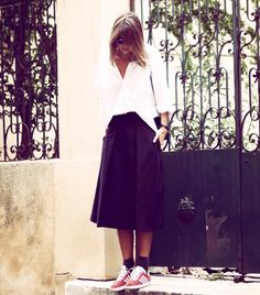 love the skirt + sneakers