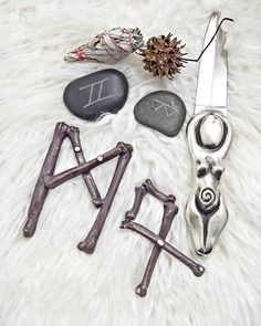 Electroformed witch runes bone pendant pagan jewelry by Clever Kim's Curios.