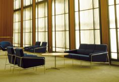 3300 Series sofas by Arne Jacobsen for Fritz Hansen. The 3300™ series was created for the SAS Terminal at the Royal Hotel in Copenhagen, one of Arne Jacobsen's architectural masterpieces. In harmony with Jacobsen's architectural work at that time, the 3300™ series is cool and formal.  http://www.skandium.com/shop/furniture/sofas-daybeds/3300tm-series