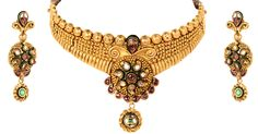 Drape your neckline with outstanding golden necklace and show off your precious earrings secure perfectly to radiate the beauty within you. Gold Jewellery Design, Gold Jewelry, Golden Necklace, Gold Set, Bridal Sets, Jewelry Collection, Neckline, Earrings, Stuff To Buy