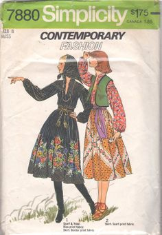 Simplicity 7880 1970s Misses Boho Skirt Vest Scarf and by mbchills