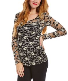 Look at this Young Essence Black & Beige Sheer Floral Lace Scoop Neck Top - Women & Plus on #zulily today!