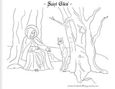 Saint Giles Catholic coloring page: Patron of the disabled.  Feast day is September 1st .
