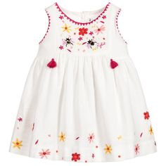 Ivory Embroidered Cotton Dress for Girl by Sonia Rykiel Paris. Girls Dresses Sewing, Baby Girl Dresses, Baby Dress, Little Girl Outfits, Toddler Outfits, Kids Outfits, Kids Dress Wear, Baby Skirt, Baby Frocks Designs