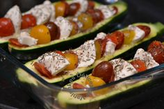 courgettes, tomates cerises, mozza, chorizo