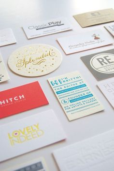 How to Build Your Perfect Business Card. I really like the round one with one word and the details, color.
