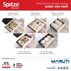 Let's go with Classic wooden Cutlery organizer and an entire kitchen storage solution under one roof from Spitze by Everyday. #Spitze #SpitzebyEveryday #KitchenOrganizer #KitchenHardware #KitchenStorageAccessories #KitchenFittings #EverydayIndia #KitchenAccessoriesManufacturer #Rajkot Larder Storage, Kitchen Pantry Storage, Kitchen Storage Solutions, Storage Baskets, Kitchen Organization, Kitchen Larder, Kitchen Baskets, Wooden Kitchen, Kitchen Cabinets
