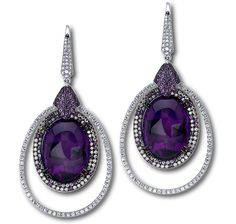 OVAL CABOCHON AMETHYST EARRINGS SET IN 18KT WHITE GOLD WITH 6 DIAMONDS AND…