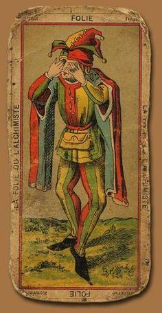 'Folie' The Fool, antique Tarot Card Xiii Tarot, First Joker, Vintage Tarot Cards, Vintage Postcards, Art Beauté, Joker Card, Tarot Major Arcana, Oracle Cards, Tarot Decks
