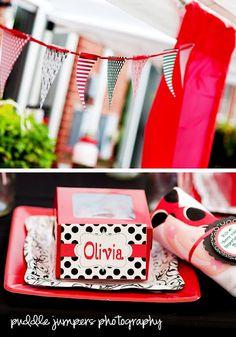 Invitations on polka dot paper for Olivia's 1st birthday