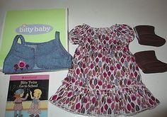Authentic-American-Girl-Doll-Bitty-Twin-Prairie-Dress-Vest-Outfit-Boots-Book-New