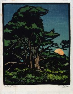 Monterey Pines ca. 1920 William S. Rice Born: Manheim, Pennsylvania 1873 Died: Oakland, California 1963 color relief on paper image: 9 ¼ x 7 in. x cm) Smithsonian American Art Museum Claude Monet, Illustrations, Illustration Art, Pablo Picasso, Vincent Van Gogh, California Art, Oakland California, Arts And Crafts Movement, Printmaking