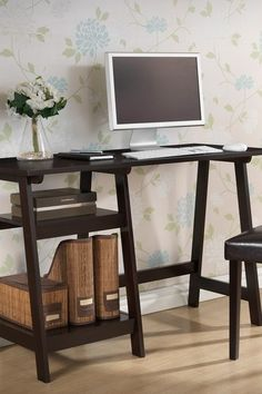 Mott Small Wood Modern Desk with Sawhorse Legs - Wenge