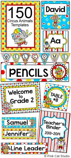 Create a fun and cohesive Circus / Carnival Animals theme classroom with this value packed set of ed Circus Theme Classroom, Classroom Labels, Classroom Jobs, Classroom Posters, Classroom Activities, Classroom Decor, Circus Decorations, Carnival Themes, Fun Educational Games
