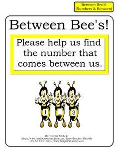 Between Bee's!  Numbers that comes Between File Folder Game
