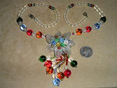 Signed Czechoslovakia Glass Necklace 1930's Molded Glass Jewelry