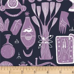 Dear Stella Magik Alchemy Phantom from @fabricdotcom  Designed by Rae Ritchie for Dear Stella, this cotton print fabric features alchemy equipment and is perfect for quilting, apparel and home decor accents. Colors include white, navy and lavender.