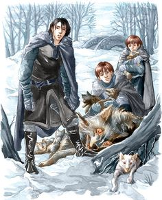 "Direwolves in the snow by =Gold-Seven on deviantART ""He loved Jon with all his heart at that moment."" :)"