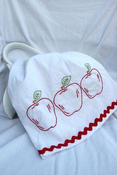 Apples Hand Embroidered Tea Towel by Very Pretty Things, via Flickr