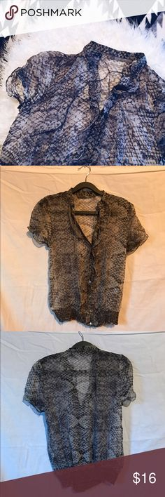Zara sheer blouse Subtle snakeskin print. Ruffled down the center button row. Bottom and sleeves are elastic ruching. Perfect lightweight top for all occasions! Gently worn. Tops Blouses