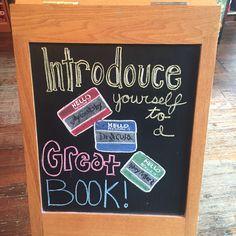 Bookstore chalkboard Little Free Libraries, Free Library, Library Ideas, Library Quotes, Library Signs, Bulletin Board Display, Bulletin Boards, Chalkboard Sayings, Library Book Displays