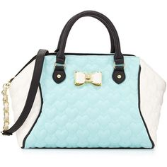 Betsey Johnson Be My Bow Colorblock Large Satchel Bag ($70) ❤ liked on Polyvore featuring bags, handbags, minty blue, quilted heart shaped purse, quilted handbags, betsey johnson handbags, satchel handbags and betsey johnson purses