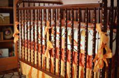 Amazing crib bedding and vintage crib - #nursery #bedding