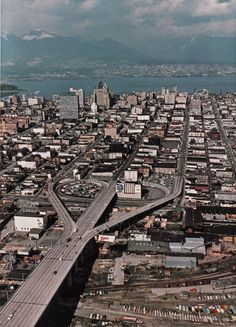 Aerial view of north end of Granville Street Bridge and downtown Vancouver, BC, [B. Richmond Vancouver, Vancouver Photos, Vancouver Bc Canada, Downtown Vancouver, Vancouver Island, Vancouver Skyline, Vancouver Washington, Paris Pictures, Vintage Pictures
