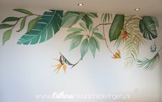 Botanische muurschildering in een speelruimte. Room Wall Painting, Mural Painting, Mural Art, Diy Painting, Wall Murals, Garden Mural, Bedroom Murals, Wall Drawing, Home Room Design