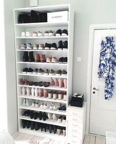 Closet Shoe Storage, Diy Shoe Rack, Closet Shelves, Shoe Racks, Wardrobe Storage, Tiny Closet, Shoe Storage In Closet, Shoe Closet Organization, Shoe Storage Cupboard