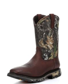 Ariat Workhog H2O in Mossy Oak Camo - All the features and benefits of the Workhog wide square toe work boot, with Waterproof Pro construction. $199.95