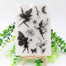 Ángeles flores Claro Transparente de Silicona Sello/Junta para DIY scrapbooking/álbum de foto Decorativo claro hojas de estampillas(China (Mainland))