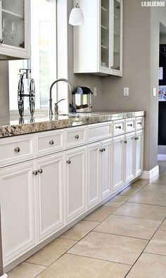 Kitchen Ideas - The Kitchen Renovation / Makeover - Cabinetry and Granite Countertops via Ashley Hackshaw / Lil Blue Boo