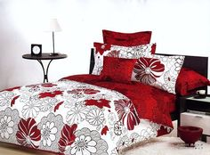 red flowers design white queen bed quilt comforter duvet cover sets 4pc
