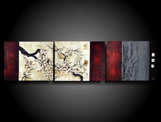 Original Large Abstract Painting Modern Art Asian Painting Chinese Tree Painting Triptych THE RAW CANVAS Wall Art Zen Painting Red ooak by therawcanvas on Etsy