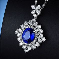 18K White Gold 4.65ct Natural Round/Pear Diamond VS AAA+ Blue Tanzanite Pendant #happyday2203 #Pendant
