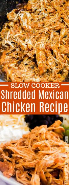 Toss these four simple ingredients into your slow cooker for the best Slow Cooker Shredded Mexican Chicken Use it in a salad tacos wraps soups or even in a Mexican shredded chicken burrito bowl slowcooker chicken Shredded Chicken Burrito, Slow Cooker Shredded Chicken, Slow Cooker Chicken Tacos, Mexican Shredded Chicken, Easy Crockpot Chicken, Crock Pot Tacos, Chicken Burrito Bowl, Chicken Burritos, Chicken Cooker