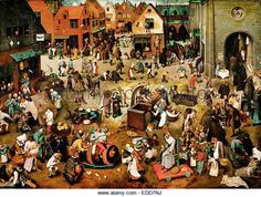 Pieter Brueghel the Elder, The Fight Between Carnival and Lent 1559 Oil on panel. Kunsthistorisches Museum, Vienna, - Stock Image