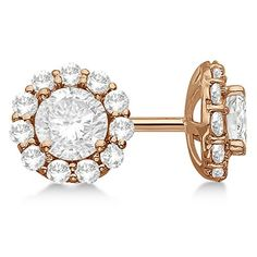 H SI 3ct Luxury Halo Diamond Earrings 18Kt Rose Gold Modern Round Cut * Click on the image for additional details. Note:It is Affiliate Link to Amazon.