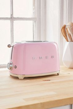SMEG Steel Retro Two-Slice Pan Bread Toaster Countertop Small Kitchen Appliance Pink Toaster, Retro Toaster, Bread Toaster, Budget Patio, Casa Retro, Target, Small Kitchen Appliances, Smeg Kitchen, Pastel Decor
