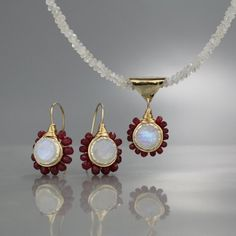 784429e4e Moonstone Ruby Jewelry Set Gift for Her Ruby Earrings Ruby Earrings, Ruby  Necklace, Gemstone
