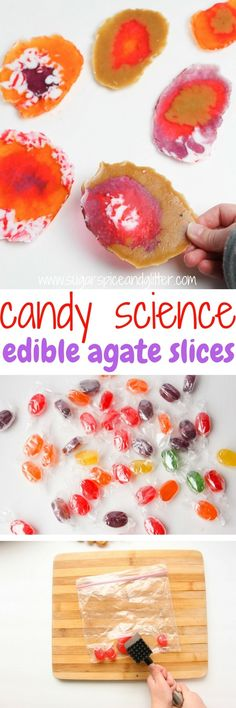 Make your own candy rocks with this edible science experiment! This fun candy science experiment explores how agate crystals are formed in a delicious, hands-on science experiment that kids can eat. Make your own candy rocks with this edible science exper Science Party, Summer Science, Stem Science, Preschool Science, Food Science, Science Activities, Earth Science, Science Ideas, Teaching Science